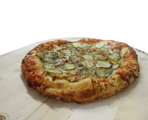 QC Pizza frozen Kinda Big Dill pizza cooked.