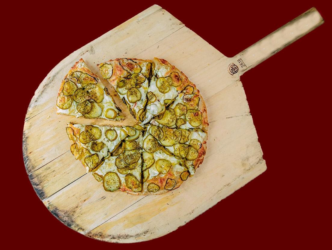 The Famous Kinda Big Dill Frozen Pizza - QC Frozen Pizza - Quad City Style Pizza